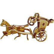 Vintage 14K Gold Sloan & Co. 3D Movable Hansom Cab Horse Drawn Carriage Charm