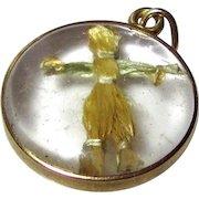 Rare Vintage 14K Gold 3D Scarecrow Bubble Charm 1930s