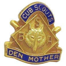 Vintage Cub Scouts BSA Wolf Den Mother Lapel Pin