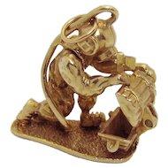 Vintage 9ct. Gold 9K 3D Movable Scuba Diver with Treasure Chest Charm