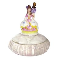 Vintage Victorian Style Woman with Bouquet German Crown Top Perfume Bottle Powder Box Combo