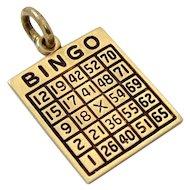 Vintage 14K Gold Enameled Lucky Gambling Bingo Card Charm