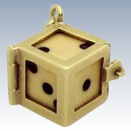 Vintage 14K Gold Lucky Gambling Die in Case Mechanical Charm