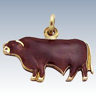 Vintage 14K Gold Filled Enameled Texas Longhorn Cattle Charm Pendant