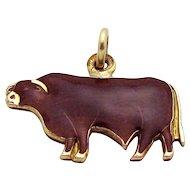 Vintage 14K Gold Filled Enameled Texas Longhorn Cattle Charm Pendant