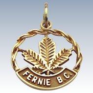 Vintage 10K Gold Fernie B.C. British Columbia Canada Charm