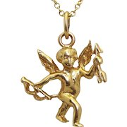 Vintage 14K Gold Solid 3D Cupid Angel with Bow and Arrow Charm