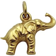 Vintage 18K Yellow Gold 3D Lucky Elephant *Good Luck Charm*