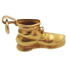 Vintage Eckfeldt & Ackley 14K Gold 3D Mens Work Boot Shoe Charm