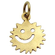 Vintage 14K Gold Mr. Saw Blade Head Smiley Face Charm 1970s