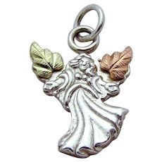 Estate 12K Gold Black Hills Gold & Sterling Silver Angel Charm