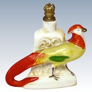 Vintage Pheasant Bird German Crown Top Figural Perfume Bottle