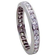 Vintage Art Deco 950 Platinum 1 Carat Diamond Eternity Band Ring 1930s