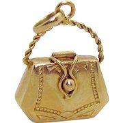 Vintage Art Deco 18K Gold 3D Purse Pocketbook Charm Pendant