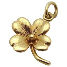 Vintage 14K Gold Lucky Four Leaf Clover Good Luck Charm