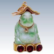 Vintage 14K Gold 3D Chinese Buddha Natural Hand-Carved Jade Etruscan Charm
