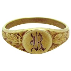 """Antique Victorian 10K Yellow Gold Initial """"R"""" Baby Ring"""