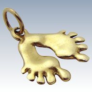 Vintage 14K Gold *Baby Feet* Footprint Charm 1970s