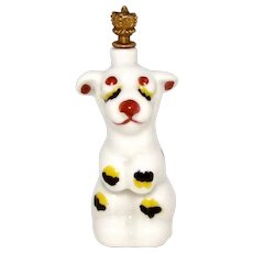 Vintage Art Deco Sleepy Dog German Crown Top Perfume Bottle
