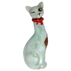 Art Deco Narcisse Lioret Tall Luster Cat Figural Perfume Bottle