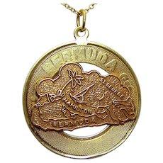 Vintage 14K Gold Bermuda Disc Travel Charm/Pendant with 10K Map