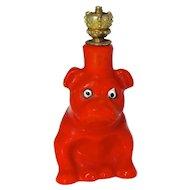 Vintage Goebel Little Red Bulldog German Crown Top Perfume Bottle
