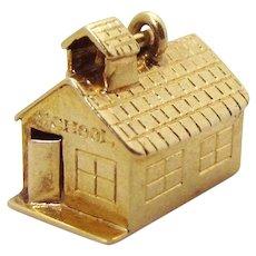 Vintage 14K Gold 3D Old Schoolhouse Charm 1930s