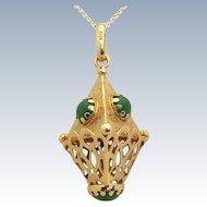 Vintage 10K Gold 3D Etruscan Sputnik Indian Jade Fob Charm Pendant