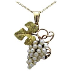 Antique Art Nouveau 14K Gold Cluster of Grapes Pendant with Seed Pearls