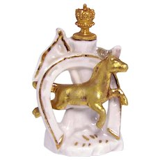 Vintage Equestrian Lucky Golden Horse in Horseshoe German Crown Top Perfume Bottle