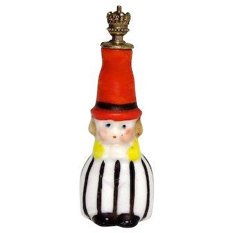 Vintage Goebel Pin Stripe Boy German Crown Top Figural Perfume Bottle
