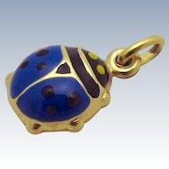 Vintage 18K Yellow Gold 3D Enameled Lucky Blue Ladybug Charm