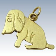 Vintage 14K Gold Mechanical Hound Dog Charm 1930s