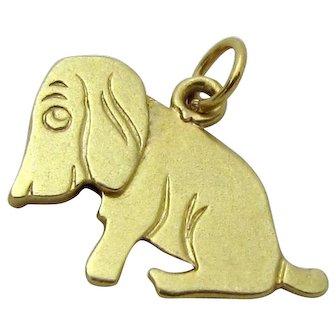Vintage 14K Gold Mechanical Hound Dog Charm 1930s