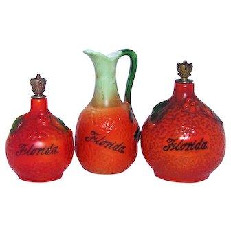 Vintage Florida Orange German Crown Top Perfume Bottle Set with Mini Pitcher