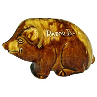 Early 1900s Roseville Pottery Razor Back Pig Piggy Bank