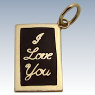 Vintage 14K Gold Enameled *I LOVE YOU* Blackboard Charm