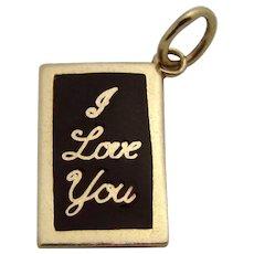 Vintage 14K Gold Enameled *I LOVE YOU* Blackboard Charm