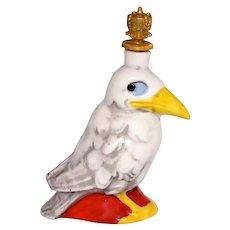 Vintage Wise Old Crow Bird German Crown Top Figural Perfume Bottle