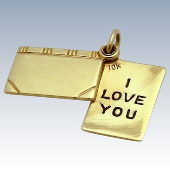 Vintage 10K Gold Moveable *I Love You* Sliding Letter Book Charm