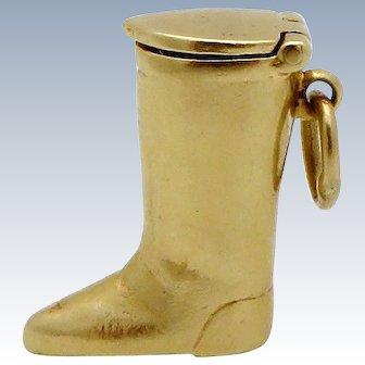 Vintage 14K Gold 3D Equestrian Cowboy Boot Pill Holder Charm