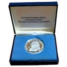 1974 American Revolution John Adams Bicentennial 1 Ounce Sterling Silver Medal Round
