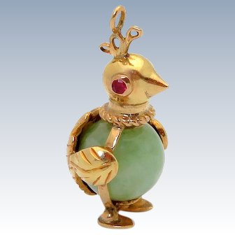 Vintage 14K Gold 3D Jade Belly Penguin Charm with Rubies