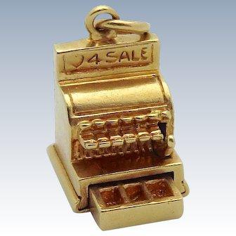 Vintage 14K Gold 3D Mechanical *LOVE 4 SALE* Cash Register Charm