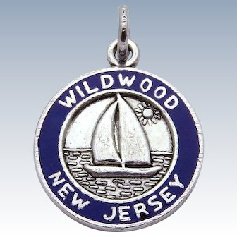 Vintage Sterling Silver Enameled Wildwood New Jersey NJ Sailboat Charm 1960s