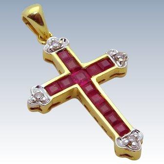 Estate 14K Yellow Gold Ruby and Diamond Cross Pendant
