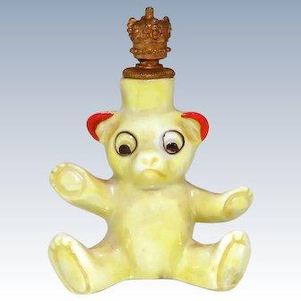 Vintage Art Deco Era Teddy Bear German Crown Top Figural Perfume Bottle