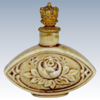 Vintage Schafer & Vater Rose Flower German Crown Top Perfume Bottle