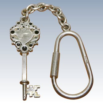 Vintage 925 Sterling Silver Solid Key Chain Ring with Skeleton Key