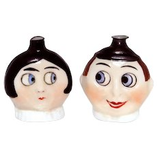 Vintage Googly Eye Boy and Girl German Figural Glass Perfume Flask Bottles